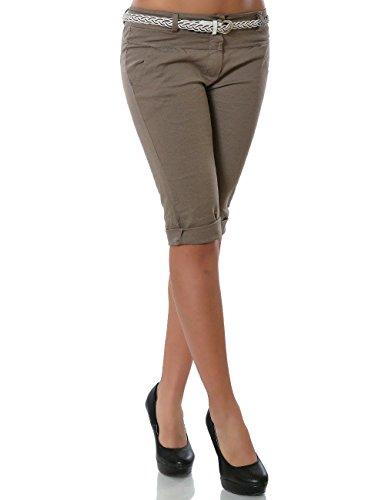 Damen Chino Capri Hose inkl. Gürtel (weitere Farben) No 13934, Farbe:Khaki;Größe:42 / XL (Khaki Capri-hosen Shorts)
