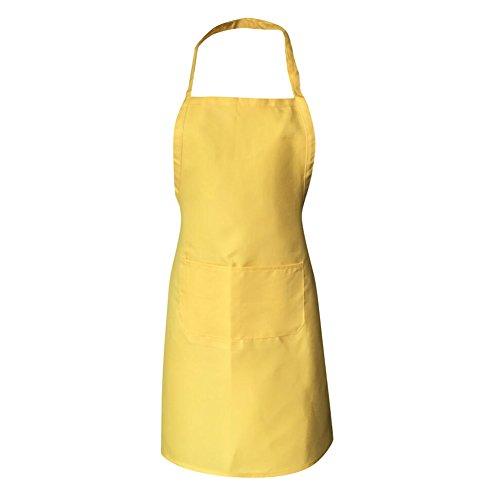Lange Anzug Trennt (Highdas erwachsene Schürzen mit Taschen Unisex Küchen-Schürzen Wasser-beständiger Teller-waschender Chef-Koch Schürze Gelb)