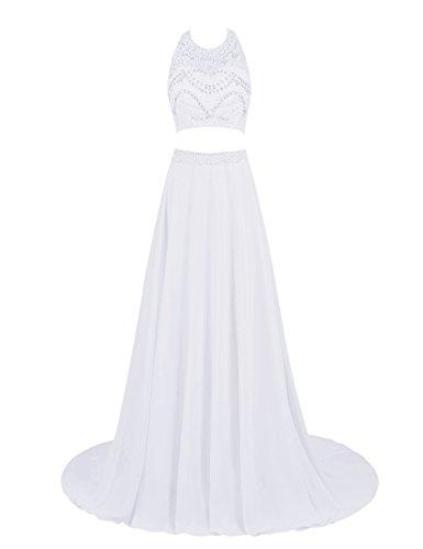 Bbonlinedress Robe de cérémonie Robe de soirée emperlée deux pièces avec traîne Blanc