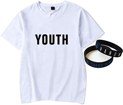 T-Shirt Geschenk Armband Dekoration Original Weiß Shawn Mendes Tee Gekämmte Baumwolle Musik- Jugend Armband Konzert Mode/C/Xxl -