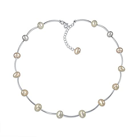Bling Jewelry Rhodié Perles simulées Tin Cup Collier Station 17,5 po
