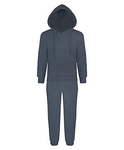 lotmart Enfants Uni 2 pièces de survêtement polaire haut à capuche jogging bas - Charbon, 9-10 Ans