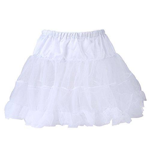 UTOVME Damen Rock 4 Layer Petticoat Unterrock Tüll Tutu Röcke Ballett Puff Rock für Tanz Party Bühnen Kostüm Show Cosplay, Weiß