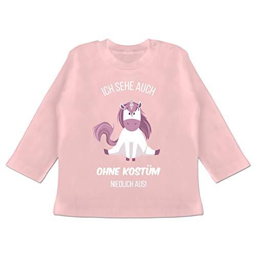 Karneval und Fasching Baby - Ich Sehe auch ohne Kostüm niedlich aus Einhorn - 6-12 Monate - Babyrosa - BZ11 - Baby T-Shirt Langarm (Einhorn Person 2 Kostüm)
