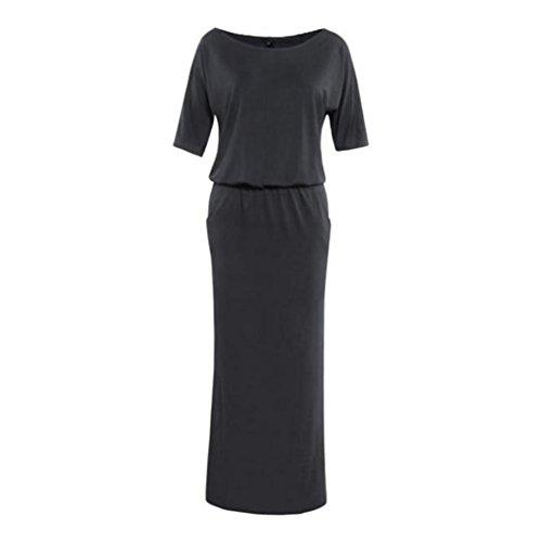 Sunnywill Eleganter Lange Maxi BOHO Party Abendkleid mit Tasche Sommerkleid Partei Kleid für Mädchen Damen Schwarz
