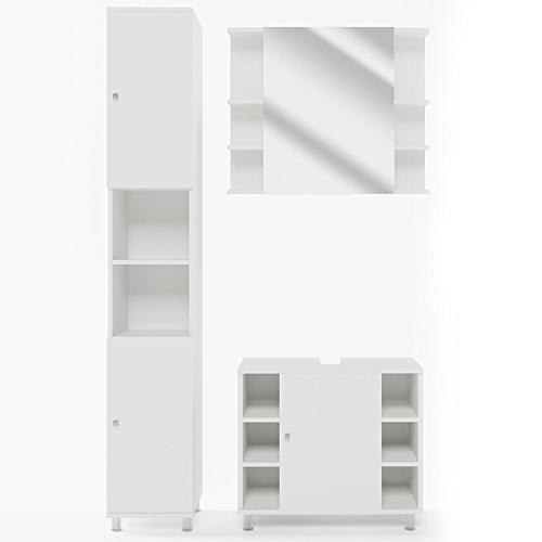 VICCO Badmöbel Set Badezimmermöbel FYNN Spiegel + Unterschrank + Midischrank + Hochschrank (Set 3, Weiß)