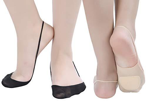 Zeltauto 4er-Pack Füßlinge Socken mit Fußpolster für Slingback Sandalen (Merhfarbig, EU 38.5-40) Slingback Sandale