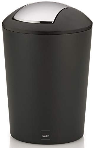 Kela Schwingdeckeleimer Marta Kunststoff, schwarz, 29 cm 19,5 cm Ø 5 l