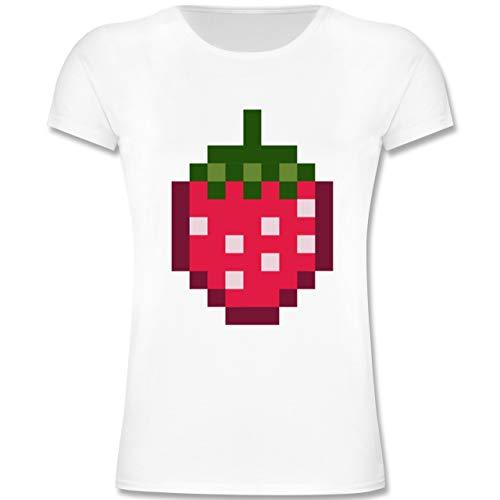 Kinder - Pixel Erdbeere - Karneval Kostüm - 164 (14-15 Jahre) - Weiß - F131K - Mädchen Kinder T-Shirt ()