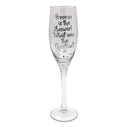 Flûte Prosecco – Silver Edition avec inscription : « Prosecco is the Answer What was the Question?x »