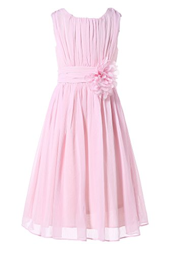 HAPPY ROSE Juniorbrautjungfernkleid Abschlussball-Partykleid Chiffon Blush Pink 10_Jahre
