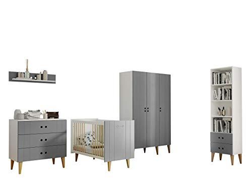 Mirjan24 Babyzimmer Set Bingo II, 5-TLG. komplett, Kleiderschrank Regal Schubladen Kommode Babybett Wandregal (Weiß/Grau) -