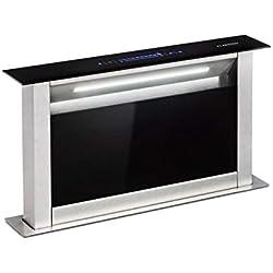 Klarstein Royal Flush Eco - Hotte aspirante, Disparaît dans le plan de travail, Bande LED, Eclaire la surface de cuisson, Panneau de commande confortable, 60 cm, 458 m³/h, Noir