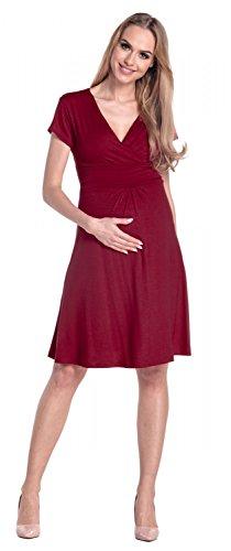 Happy Mama Femme. Robe de maternité drapée. Robe de cocktail de grossesse. 108p Cramoisi