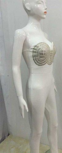 Grenouillères Femmes Sexy sans manches bretelles Bodycon Parti Métal Clubwear Jumpsuit Blanc