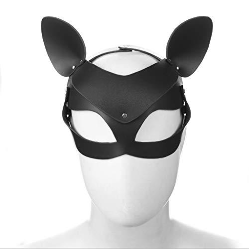 es Kitz, braunes Kitz-Form-Augen-Masken-Paar-Flirt-Produkt-Erwachsen-Spiel-Spielwaren-Männer und Frauen-Stadiums-Maske Jeans (Color : Black) ()