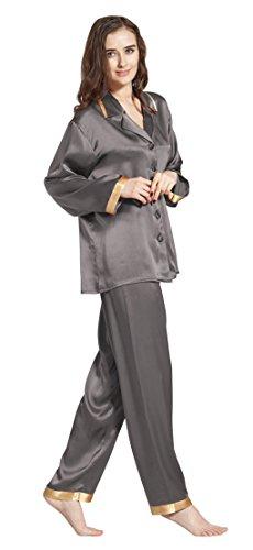 LILYSILK Ensembles de Pyjama en 100% Soie de Mûrier pour Femme 22 Momme Poignets Dorés Gris Foncé