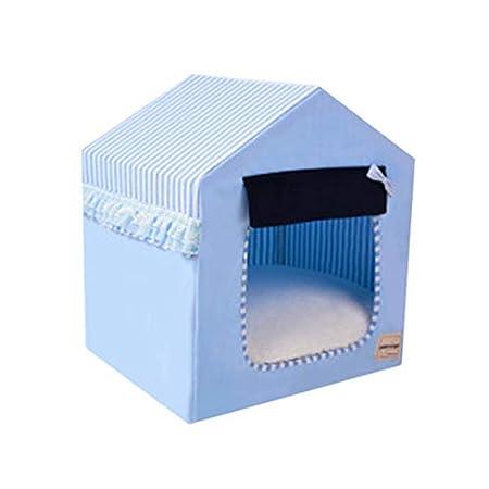 JEELINBORE Tragbar Faltbar Hundehaus Waschbar Katzen Hunde -Haus Bett Sofa (Himmel Blau, S: 45 * 38 * 51cm)