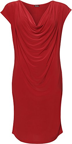 WEARALL Damen Plus Kapuze Hals Kleid Damen Ärmellos Strecke Ebene Basic Lang Top - 42-56 Rot