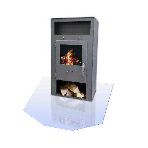 Kamino Flam Glasbodenplatte sechseckig, Platte aus ESG-Hartglas, temperaturwechselbeständig, Bodenplatte zum Funkenschutz, Glas mit polierten Kanten, Maße: ca. 120 x 100 x 0,6 cm