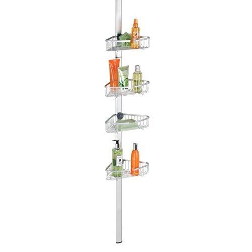 mDesign Teleskopregal mit verstellbaren Körben für die Dusche – ausziehbare Duschablage ohne Bohren für Shampoo, Duschgel, Seife usw. – Eck Duschregal aus Aluminium – silberfarben