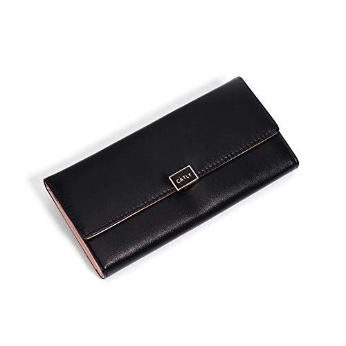 SUNYUEWALLET Wallet Multi Function Damen Clutch Bag Lange Brieftasche,Black -