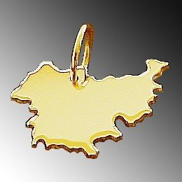 Anhänger Gold 585 Landkarte THÜRINGEN - Damen Herren Kettenanhänger in massiv Gelbgold