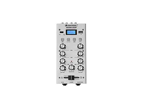 OMNITRONIC GNOME-202P Mini-Mixer silber   2-Kanal-DJ-Mixer mit Bluetooth und MP3-Player im Miniaturformat   Regelbarer Mikrofoneingang/Kopfhörerausgang über 6,3-mm-Klinke