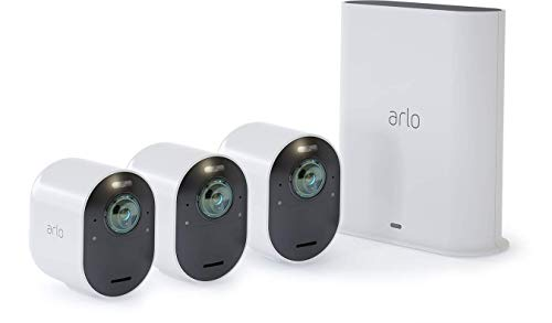 Arlo Ultra Smart Home 3 kabellose 4K-HDR Überwachungskameras & Sicherheitsalarm, Innen/Außen, Farbnachtsicht, 180 Grad Blickwinkel, WLAN, 2-Wege Audio, Spotlight, Bewegungsmelder, (VMS5340) - Weiß
