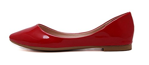 Aisun Femme Mode Couleur Unie Basse Ballerines Rouge