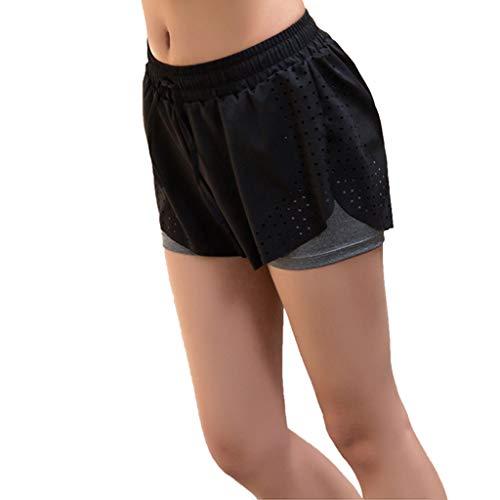 Spandex Workout Shorts (Heißer Abstand! DDKK Damen High Waist Oberschenkel Kompression Workout Shorts mit Taschen Bauchkontrolle Sweat Yoga Body Shaper Baumwolle Laufhose M grau)