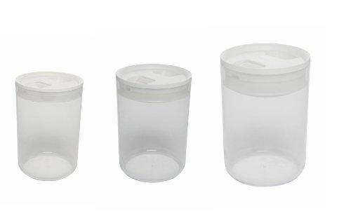 Lagerung Türkis Behälter (Abflussdeckel rund Pantry Behälter Set mit weißem Deckel, transparent, 17,5x 17,5x 25,5cm)