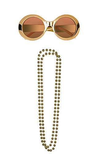 r Jahre Damen Outfit Diva Set Gold Disco Schlager Kostüm Zubehör Accessoires ()