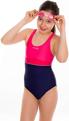 Aqua Speed Emily Badeanzug | Mädchen | Teenager | 134-164 | UV-Schutz | Elastisch | Blickdicht | Chlorresistent 134 Navy-Raspberry-Coral