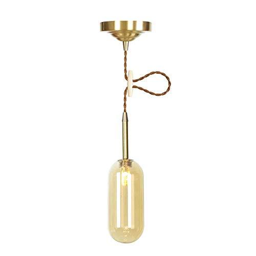 Industrial Amber/Transparent Glass Pendant Lights Indoor Decoration Gold Copper Lamp Holder Postmodern Lamps Living Room Restaurant Pendant Lamp Luminaria Lighting,Amber -