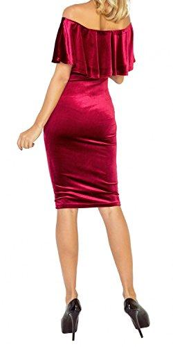 Zeta Ville - Elastico vestito spalle scoperte - doppio strato - donna - 044z Cremisi