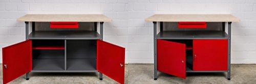 Kreher XL Set mit 2 Werkbänken aus Metall. Mit zwei abschließbaren Türen, Schublade und Gewinde Füßen. Solide 30 mm Sperrholz Platte. Maße pro Tisch BxTxH ca. 120 x 60 x 85 H cm.