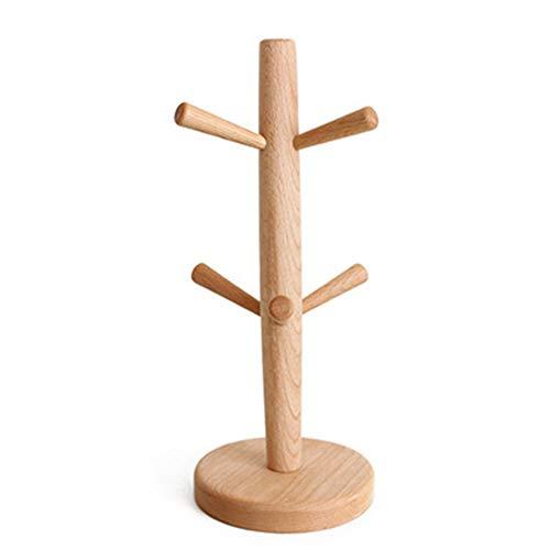 Forart Bambus Mug Rack Tree, Holz Multi Purpose Display Stand Tee Kaffeetasse Tasse Schmuck Tree Rack Holder 6 Haken Peg hängen Mug Rack