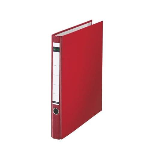 Leitz Plastik-Ringordner, Ohne Schlitze, Plastik-Cover, A4, 3,5 cm Rückenbreite, Rot, 10140025