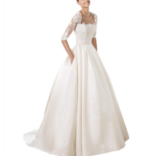 GEORGE BRIDE 1/2 Spitzenaermel Taschen Satin-Rock-Figur schmeichelhaft Stil Hochzeitskleid Brautkleider Hochzeitskleider ,Groesse 46,Weiss