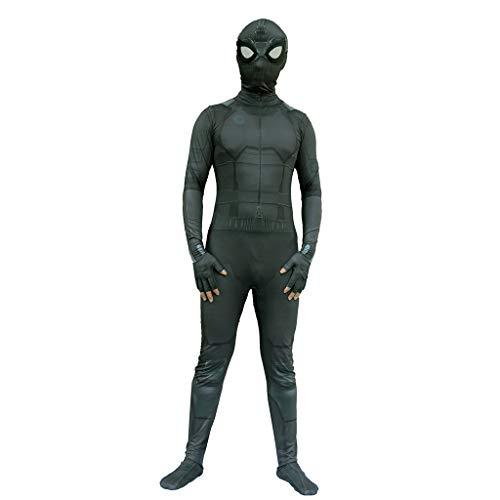 Ghuajie5hao Herren 3D gedruckte Trikot Superheld Spiderman Kostüme Overall Unisex Strumpfhosen Body Halloween Cosplay OneSize schwarz elastisches Kostüm für Erwachsene,Schwarz,M