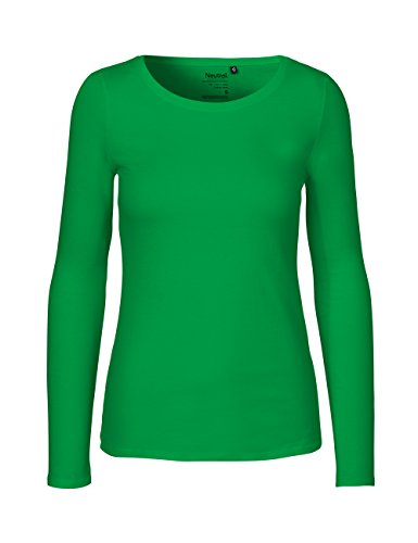 Green Cat- Damen Langarmshirt, 100% Bio-Baumwolle. Fairtrade, Oeko-Tex und Ecolabel Zertifiziert, Textilfarbe: grasgrün, Gr.: L