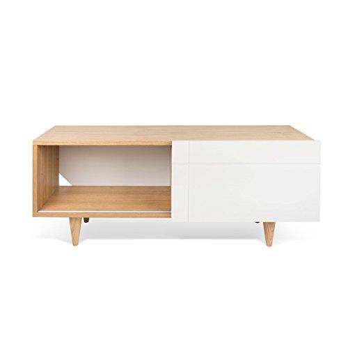 Paris Prix - Temahome - Meuble TV Design Cruz 120cm Blanc Mat & Chêne