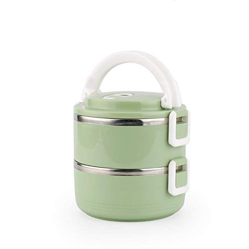 WANG Lunch Box Stainless Steel Bento Box Thermal Food Storage Container Leak-Proof Kids Outdoor Camp Picnic High Capacity,green2