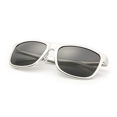 LKVNHP Classic Herren Sonnenbrille Vollaluminium Rahmen Tac Polaroid Fashion Unisex Driving SonnenbrilleWeiß