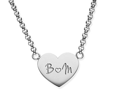 URBANHELDEN - Herzkette mit Wunschgravur Anhänger - Personalisierte Kette aus Edelstahl mit 2 Initialen - Herzchen Silber G9