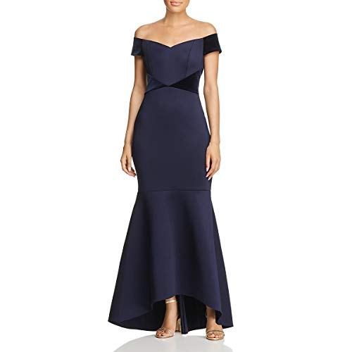 Eliza J Womens Velvet Trim Hi-Low Evening Dress