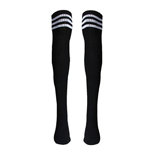 Mädchen Sport Streifen Lange Socken,Amcool Über Knie Hohe Socken Baseball Eishockey Fußball (Schwarz, 66cm/26.0