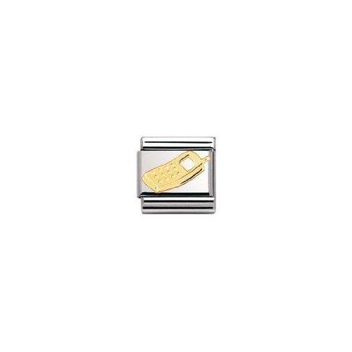 Nomination-030108-Maillon-pour-bracelet-composable-Mixte-Acier-inoxydable-et-Or-jaune-18-cts