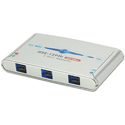 Lindy 3 Port FireWire 800 Repeater Hub - Concentrador (1m, Plata, 100 x 60 x 15 mm, 3x IEEE1394b)